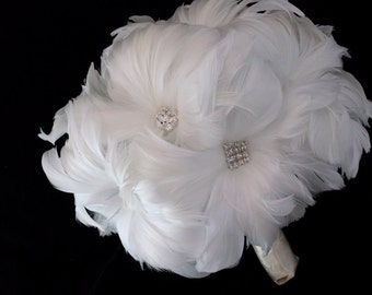 The Edie Soft White Feather Flower Crystal and Feather Bouquet -  made to order