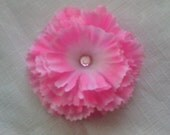 Pink Carnation Flower with Gem Alligator Hair Clip READY TO SHIP -- ONLY ONE DOLLAR