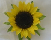 One Yellow Sunflower Alligator Hair Clip
