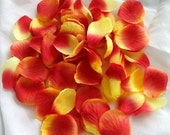 100 Orange and Yellow ARTIFICIAL SILK Rose PETALS for Wedding Decorations
