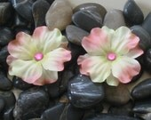 TWO Blush Pink Hydrangea Alligator Hair Clips with Gem Accents Handmade -- Sold in Set of TWO