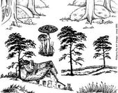 COUNTRYSIDE, FOREST, TREES, Scenic rubber stamps by Cherry PIe