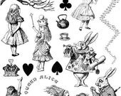 ALICE in WONDERLAND - set of unmounted rubber stamps