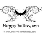 Goth HAPPY HALLoWEEN BAT flourish- 1 or 2 CLiNG STaMPS(s) by Cherry Pie Art Stamps