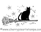 CAT riding on Broomstick - Black cat-  CLING STAMP rubber stamp by Cherry Pie Art Stamps