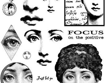 WoMAN FACE, eyes, portrait- unmounted RUBBER STAMPS set by Cherry Pie - Lina