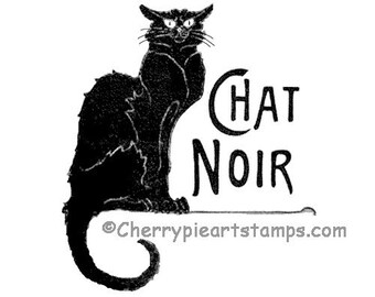CHAT NOIR - Black cat- CLiNG RuBBer STaMP for acrylic block by Cherry Pie Art Stamps