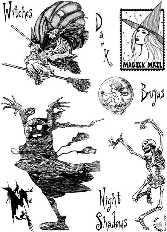 WITCHES, Ghosts and dancing skeleton- set of rubber stamps by Cherry Pie