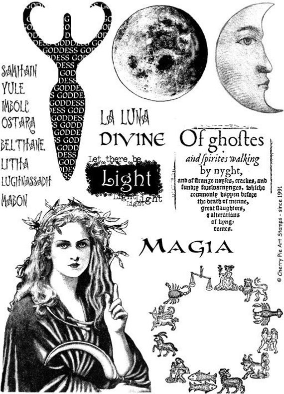 items similar to moon goddess set of rubber stamps by