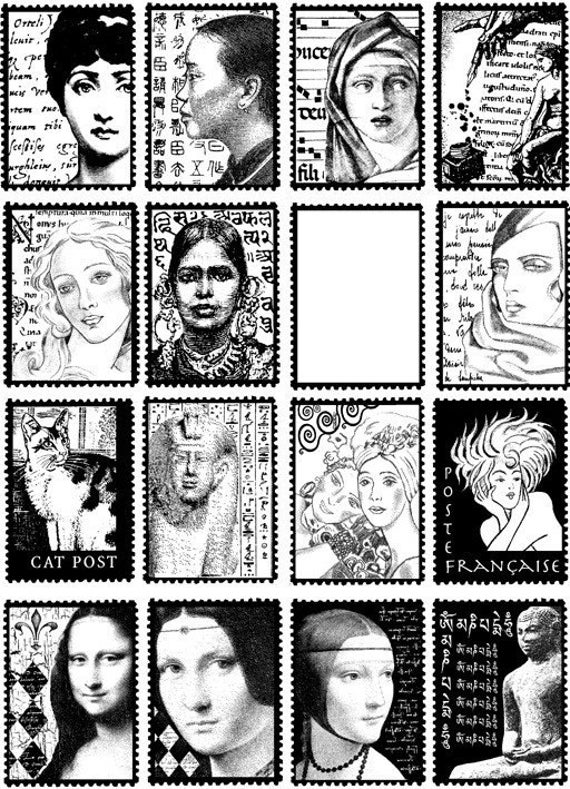 16 FAUX POSTAGE -postoids - 16 CLiNG STAMPS by Cherry Pie