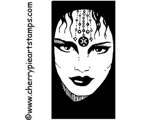 WITCH, magic woman, GYPSY face- CLiNG RuBBer STaMP by Cherry Pie Art Stamps