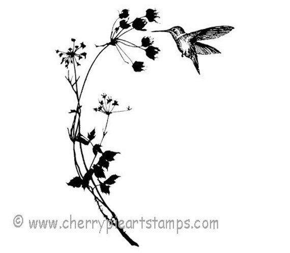 Hummingbird and wild flowers - CLING rubber STAMP by Cherry Pie Art Stamps