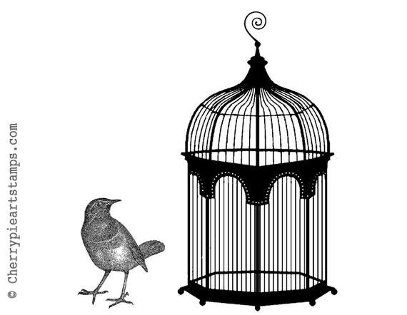 Vintage CAGE and BIRD - 2 CLiNG RuBBer Stamps for acrylic block by Cherry Pie