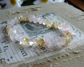 Attract Romance and Abundance - Citrine and Rose Quartz - Best of Both Worlds - Stretchy Bracelet