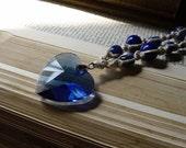 Hemp Necklace Sapphire Blue Heart Sodalite Necklace Beaded Hemp Necklace