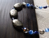 Beaded Necklace - Pyrite and Sodalite
