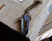 Mystic Cobalt Aura Quartz Necklace - Bronze and Raw Brass