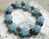 Bracelet - Aquamarine and Smoky Quartz - Meditation Bracelet - Stretchy