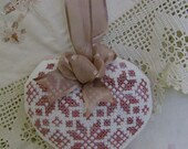 Cross stitch heart tiny cushion