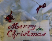 Cross stitch decorative Christmas cushion