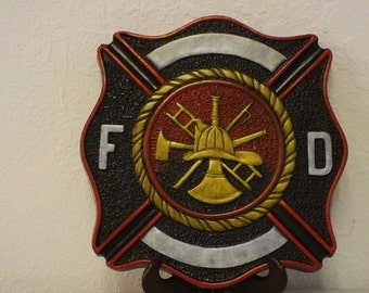 Hand Painted Ceramic Fireman Stepping Stone / Plaque