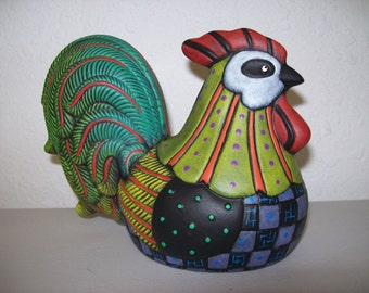 Hand Painted Ceramic Calico Rooster
