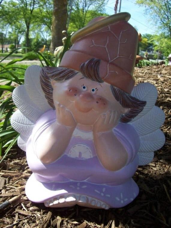 Ceramic Crack Pot Garden Angel