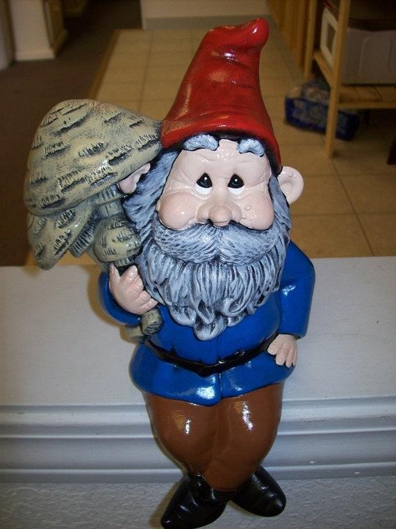 Ceramic Gnome Sitting with Mushrooms Garden Ornament