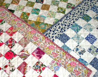 Liberty Lawn Quilt Kit -  Liberty of London tana lawn doll  quilt kit in pink, blue or bright