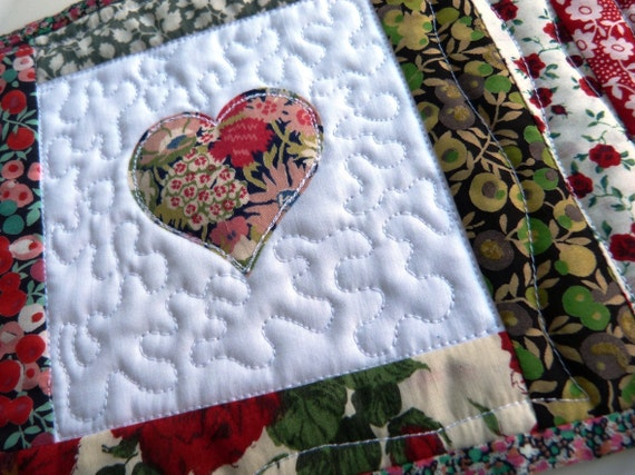 SWEETHEART MUG RUG  - Liberty fabric Mug Rug  with heart applique - Red and green Liberty of London tana lawn coaster.