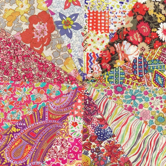 Liberty Fabric BRIGHTS charm pack - 12 Liberty of London Tana Lawn  Fabric 5 inch squares