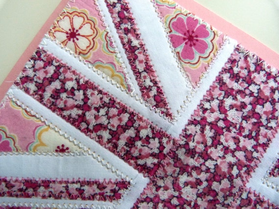 Textile postcard Union Jack flag in PINK - Correspondence card, wall art - made from Liberty tana lawn
