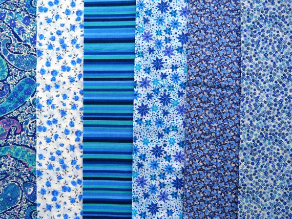 "Liberty fabric strips BLUE  -  6 Liberty of London Tana Lawn  2.5"" x 50"" strips BLUES"