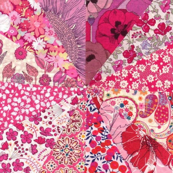 Liberty Fabric BRIGHT PINKS  charm pack - 12 Liberty of London Tana Lawn  Fabric 5 inch squares