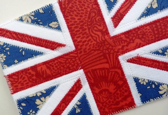 Textile postcard Union Jack flag - Correspondence card, wall art - made from Liberty tana lawn