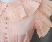 30s Dress Vintage 1930s Shell Pink Wedding Gown Peach Bridal Ruffled Sleeves Bridesmaid Small  S XS