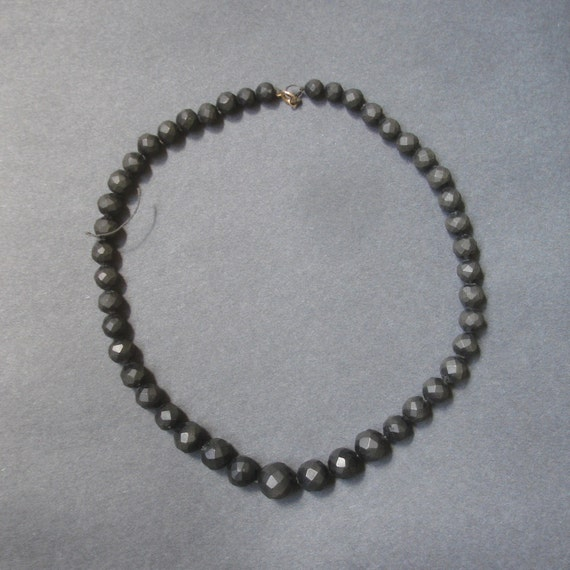 Antique Necklace Victorian Gutta Percha Choker Graduated Faceted Black Beads 16.5 inches