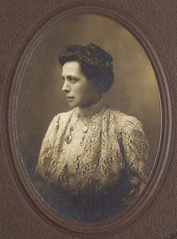 Antique Real Photo of A Beautiful Young Woman  Wearing Lace and Jewelry A Victorian Lady Signed Cabinet Photo