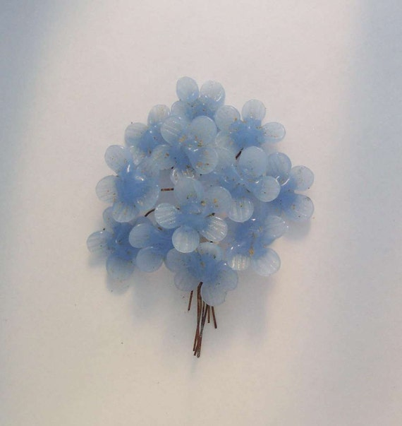 Vintage 20 Periwinkle Wired Glass Flowers Twenty Made in Japan Flowers on Wire
