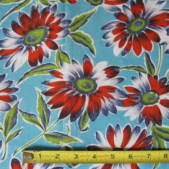 Vintage Floral Print Feedsack Fabric Red Daisies on Turquoise Panel Flowers Fabulous Print 30s 1930s Feed Sack