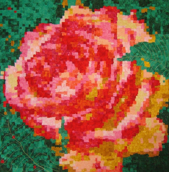 Pixelated Rose - Quited Wall-hanging