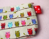 Donating 50% to Japanese Red Cross : Colorful Owl Mini Zipper Pouch
