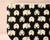 Little Cute Hippo pencil(pen) pouch (Black)