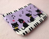 Cute kitten with piano mini zipper pouch (Purple)