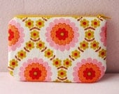 Floral mini zippered pouch (yellow)