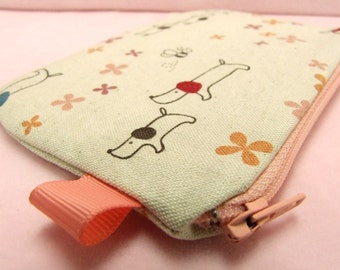 Dachshund and little bee mini zippered Pouch