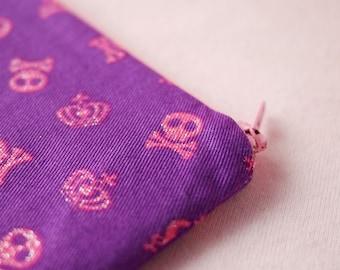 Cyber Monday Sale Sweet skull mini zipper pouch (Purple)