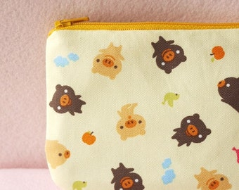 Happy Pigs mini zipper pouch
