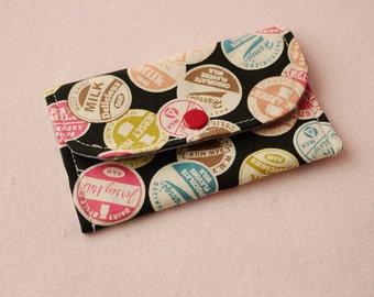 Milky Stamp Mini Snap Wallet (Black)