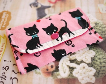 Cute Kitten with Piano Mini Snap Wallet (Pink)